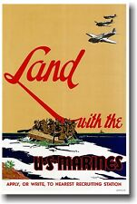 Land with U.S. Marines - Vintage WW2 Art Print POSTER