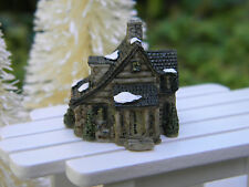 "Miniature Dollhouse FAIRY GARDEN Christmas ~ TINY 1"" Snow Village Stone House"