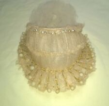 ANTIQUE WEDDING BRIDAL SILK FLOWERS VEIL HEAD PIECE DAISIES RHINESTONES $47.99