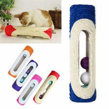 Pet Cat Rolling Sisal Scratching Post Trapped With 3 Ball Training Funny Toy New