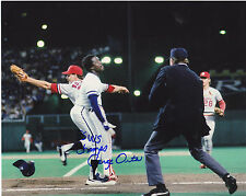 JORGE ORTA  KANSAS CITY ROYALS  1985 WS CHAMPS  SAFE PLAY AT FIRST   SIGNED 8x10
