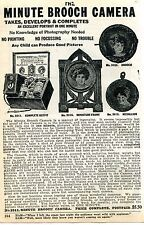 1928 small Print Ad of Minute Brooch Camera any child can produce good pictures