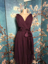 MAGGY LONDON 10 PURPLE SILK LINED SURPLICE RUCHED BELOW KNEE SLEEVELESS DRESS