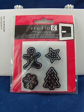 NEW STUDIO G CLEAR STAMP SET HOLIDAY COOKIE DESIGNS GINGERBREAD STAR TREE VC0049