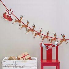 Babbo Natale slitta & Renna Bunting-Padre Xmas/rudolph/Ghirlanda/decorazione da appendere