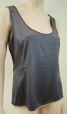 ARMANI COLLEZIONI Charcoal Grey Silk Stretch Sleeveless Cami Vest Top IT44 UK12