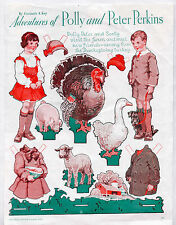 Vintage POLLY & PETER PERKINS THANKSGIVING Paper Dolls 1934 Gertrude Kay/uncut