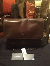 100% Authentic Ralph Lauren Black Label Quilted Leather Messenger Bag Brown New!