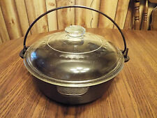 Wagner Ware Cast Iron Pan Pot w/ Glass Lid and Bale Handle USA E