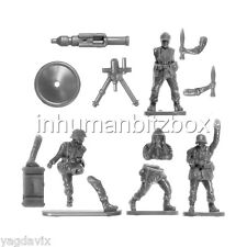 GLHW3 MORTAR 120mm + 4 CREWS + BASE G GERMAN LATE FLAMES OF WAR BITZ PSC 15mm
