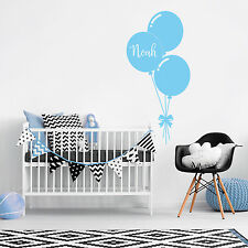 Custom Name Personalise Balloon Kids Baby Boy Bedroom Wall Sticker Nursery Decal