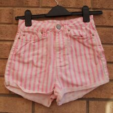 TOPSHOP blanc à rayures rose à rayures turn up denim jeans hot pants shorts 8 s