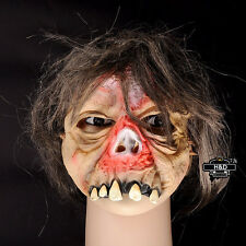 Terror Halloween Latex Mask Madman Horror With Hair Prop For Adult Costume Party