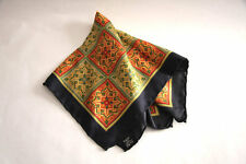 Gieves & Hawkes Savile Row Vintage Gold Red Green Blue Tiled Silk Pocket Square