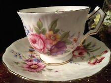 AYNSLEY FOOTED TEA CUP & SAUCER FLORAL GOLD TRIM, SCALLOP EDGES W/ RIDGES