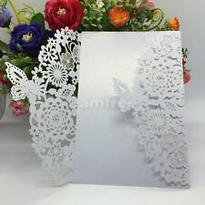 10pcs Laser Cut Flower Butterfly Pattern Wedding Invitations Cards White Gift