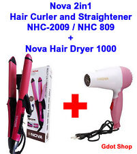 Nova 2 in 1 Hair Curler and Straightener NHC-2009  + Nova Hair Dryer 1000 Watts
