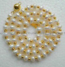 7-8mm White Cultured Akoya Pearl Abacus Necklace 18 Inch