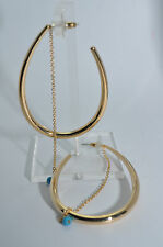 JULES SMITH Yellow Gold Plated 14k EDIE Turquoise Chain Hoop Earrings $85 NEW
