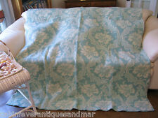 Vintage Wool o the West Floral Green Cream Reversible Wool Blanket 68x74