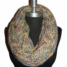 New Winter Warm Infinity Circle Cable Knit Cowl Neck Long Scarf Gray/Yellow