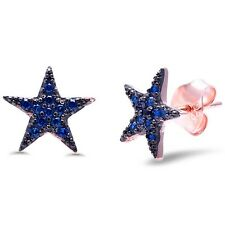 Rose Gold Plated Blue Sapphire Star .925 Sterling Silver Earrings