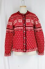 L.L.Bean 100% Lambswool Cardigan Sweater LARGE Red White Black Button Front