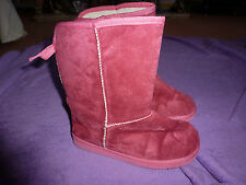 M AND S GIRLS PINK BOOTS WITH CREAM FAKE FUR LINING  SIZE 5