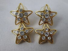 Nolan Miller Gold Rhinestone Convertible Star Earring Set QVC Glamour Collection