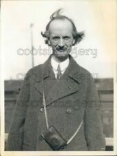 Scientist Auguste Piccard Wearing Coat Camera Strapped On Press Photo