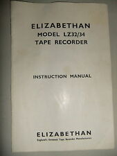 Instructions REEL to REEL tape player ELIZABETHAN LZ32/34  CD/EMail
