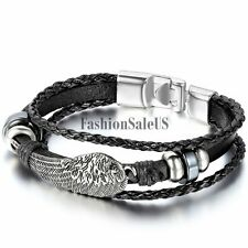 Unisex Men Women Braided Leather Multilayer Bracelet Angel Wing Bangle Cuff New