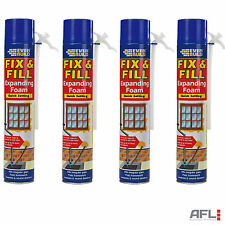 4x Expanding Foam Quick Set Spray Aerosol Cans 750ml - Gap Filling Fixing