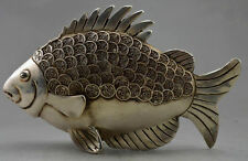 Collectible Old Decorated Handwork Tibet Silver Carved GUangxu Coin Fish Statue