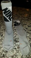 NIKE Dri Fit CUSHIONED CREW BASKETBALL SOCKS Gray Black  White Men's 8-12