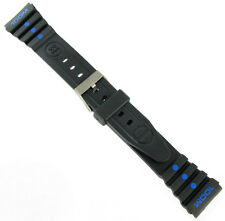 19mm Gemex Fits Ironman Black and Blue Rubber Sport Watch Band 6026R
