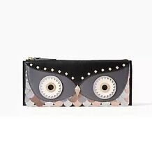Kate Spade Wise Owl Feathers Copper Platinum Black Clutch Wallet Bag NWT