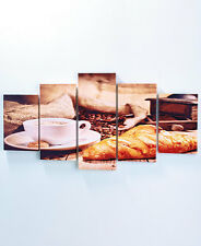 5 Pc Canvas Wall Art Sets COFFEE HOUSE BAKERY Wall Decor FRAMED Pictures Picture