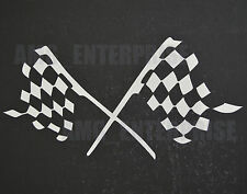 White Silver Checkered Chequered Flag Finish Line Podium Decal Sticker Vinyl