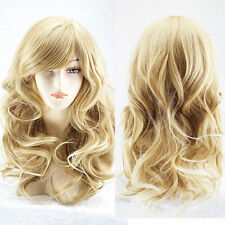 New Sexy Women Light Blonde Hair Long Curly Wavy Fashion Cosplay Party Wigs