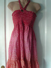 PINK AND ORANGE HALTER NECK DRESS BY WAREHOUSE, SIZE MEDIUM