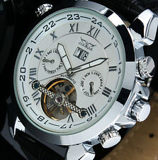 IDOL NEW JARAGAR calendar skeleton Automatic mechanical Leather men's Wristwatch