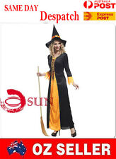 Black Halloween Women Lady Sorceress Witch Costume Cosplay Fancy Dress up COS19