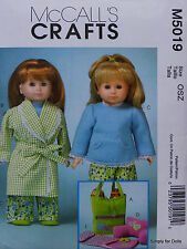 """McCall's 5019 Sewing PATTERN for 18"""" American Girl DOLL CLOTHES Pajamas Robe NEW"""