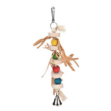 Parrot Bird Chew Toy Wooden Straw With Bell Cage Swing Toys Accessory 32cm XC