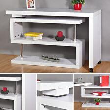 203CM Retro Arbeitstisch Schreibtisch Computertisch Weiß Winkelschreibtisch Holz
