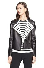 NWT! $2595 St. John Collection Nappa Leather Jacket with Stripe Lining | SZ 8 |