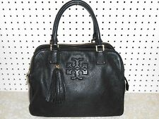 TORY BURCH BLACK PEBBLE STONE LEAHTER TRIPLE SECTION SATCHEL TOTE HANDBAG