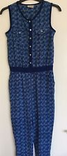 Next Girls Sleeveless Trouser Jump Suit Age 11 Years Blue White Excellent Unworn