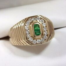 Men's Colombian Emerald & Diamond Octagonal Ring 14K Yellow Gold - Size 9 3/4